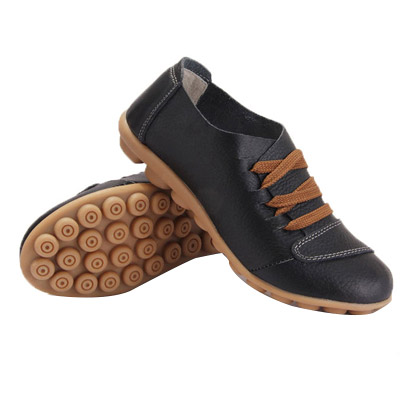 Women's Sneakers w/ Lace-Up & Non-Slip Genuine Leather